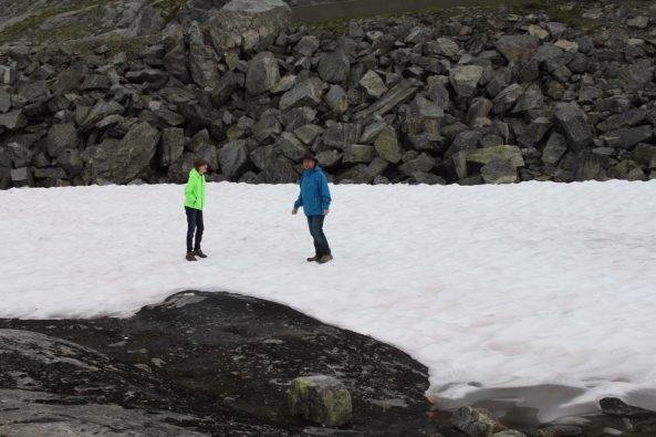 Schnee im August muss natürlich genau untersucht werden