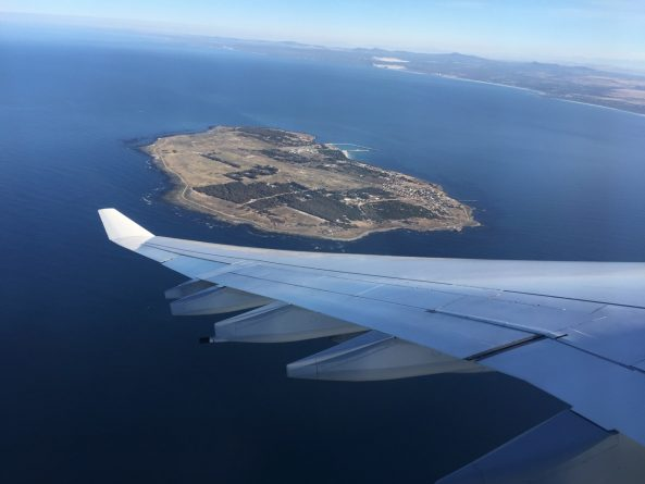Robben Island beim Anflug